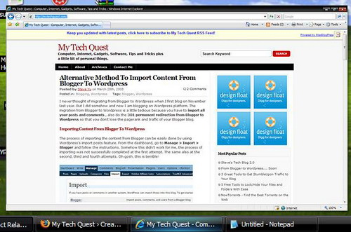 Enhance Windows Taskbar with Thumbnail Snaphot Feature in Windows XP using Visual Task Tips