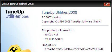 Tuneup Utilities 2008 Free License Key Serial Code