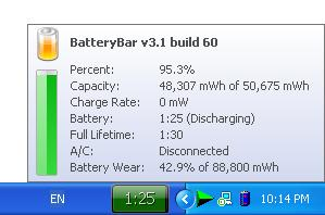 Battery Status Bar on Windows Taskbar