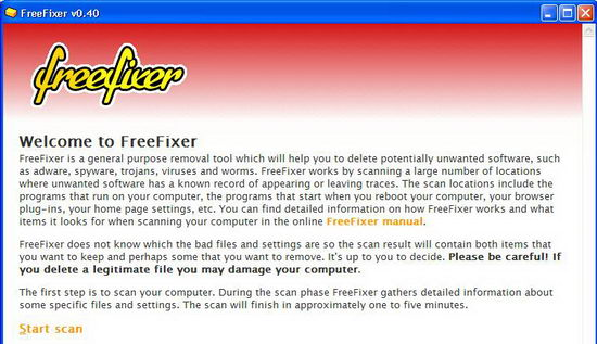 FreeFixer Removes Potentially Unwanted Programs