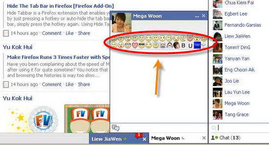 Add Emoticon List in Facebook Chat Window