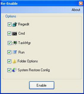 Re-enable Registry Editor, Command Console, Folder Option, Run, Task Manager and System Restore