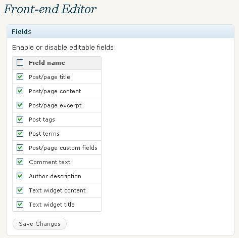 Edit Your Wordpress Blog Content Directly from Your Blog with Front