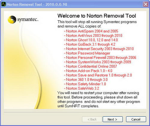 Norton Removal Tool 2010