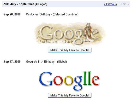 Choose Favourite Google Doodle from Google Doodle Gallery