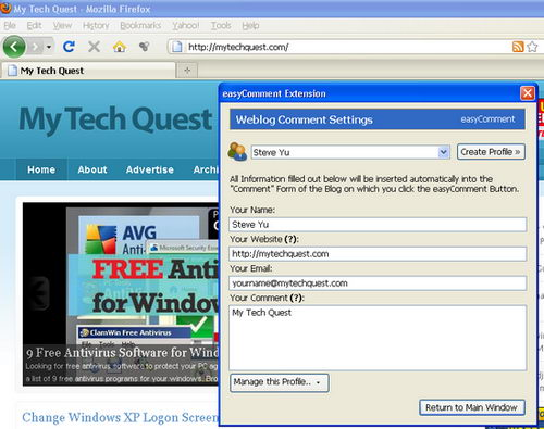 Make Leaving Comments on Blog Easy with Easy Comment Firefox Extension