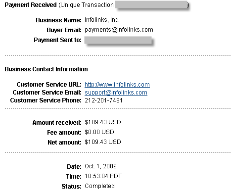 First Payment from Infolinks
