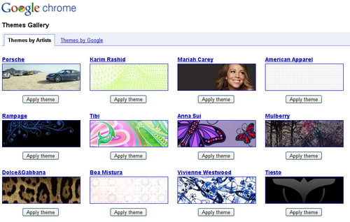 Google Chome Theme Gallery, Now with Themes designed by Artists