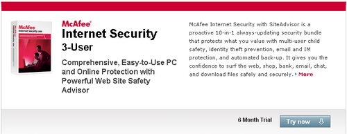 McAfee Internet Security 2010 with SiteAdvisor Free 6 Months License