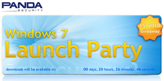 Panda Internet Security 2010 Free 1 Year License Key on Windows 7 Launch Party
