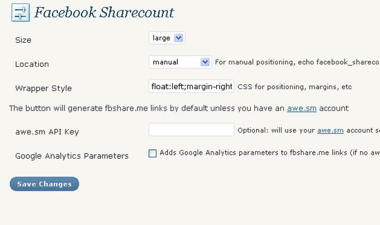 Facebook Share Count Settings Page