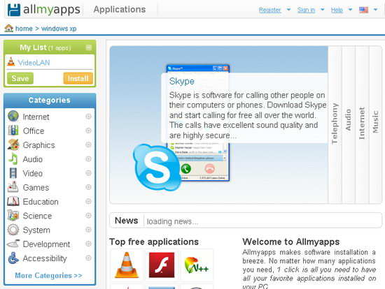 Browse Applications in Categories