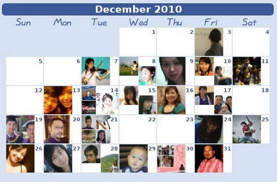 Facebook Birthday Calendar
