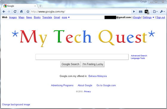 replace google logo text with any text and image chrome extension
