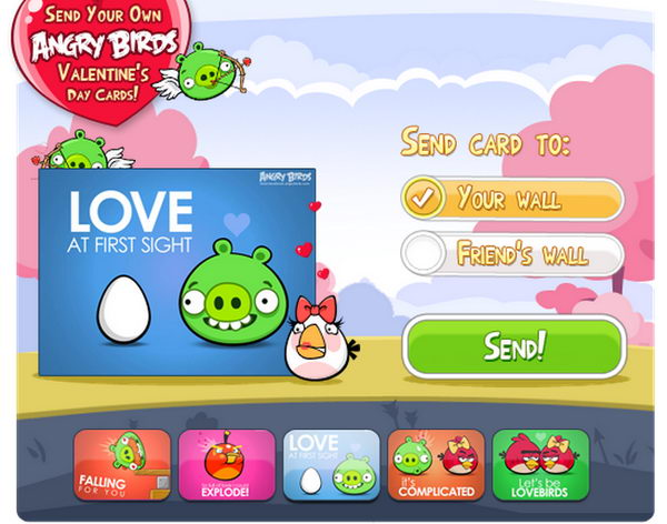 Send Angry Birds Valentines Day Cards in Facebook – Valentine Cards for Facebook