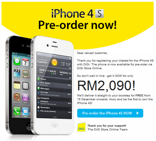 Pre-Order iPhone 4S at DiGi Store Malaysia Plans and Pricing Revealed ...