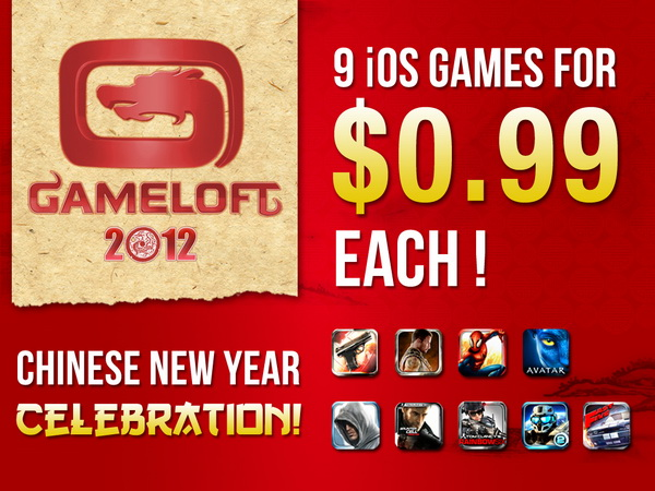 Chinese New Year 2012 Sale - Gameloft iOS Games at 99 cents