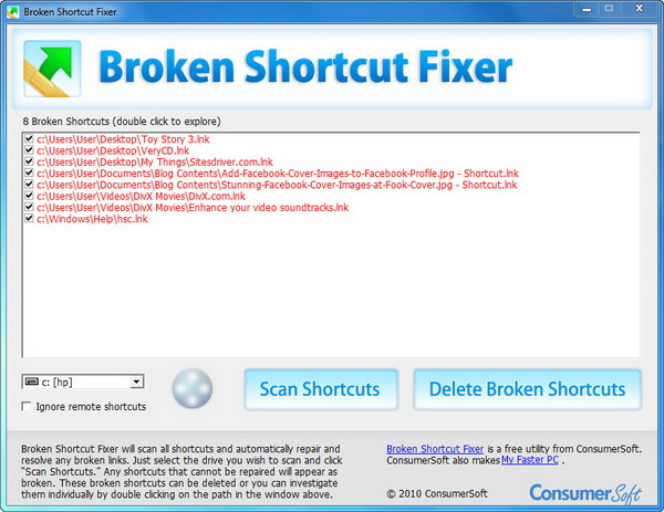 Scan and Delete Broken Shortcuts in Windows 7