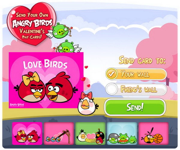 Send Angry Birds Valentines Day 2012 Cards in Facebook – Valentine Cards for Facebook