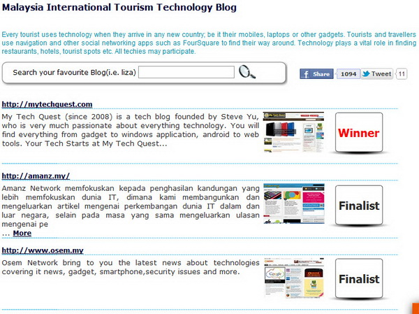Winner for Malaysia International Tourism Technology Blog