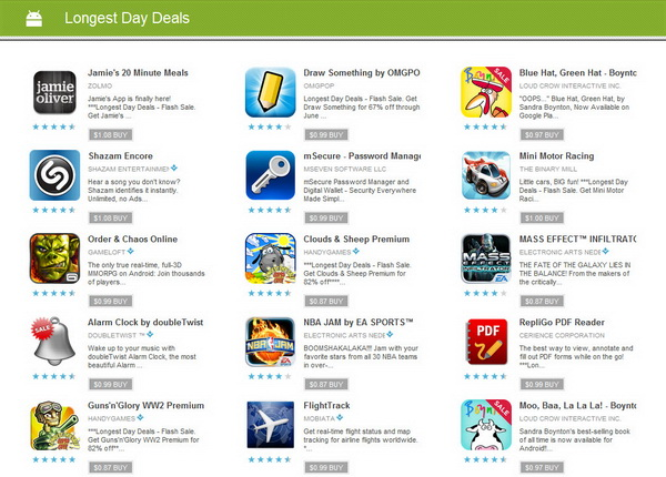 Google Play Store - Longest Day Deals