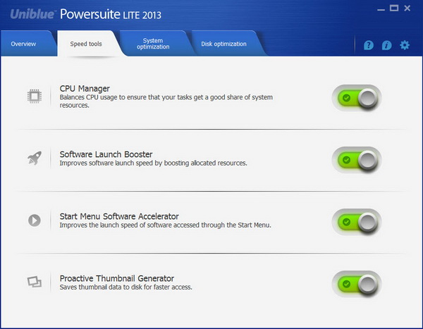 Uniblue Powersuite Lite 2013 - Speed Tools