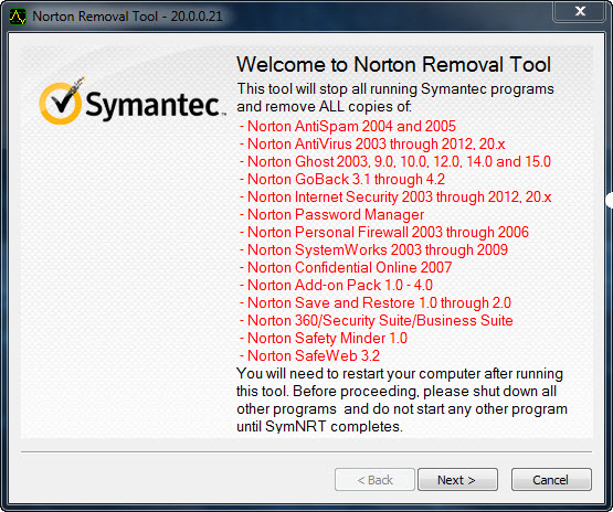 Completely Uninstall Norton 2013 Products