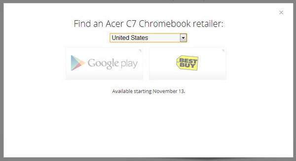 Acer C7 Chromebook - Availability