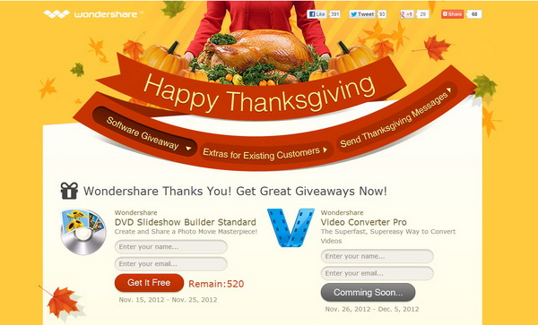 Wondershare - Thanksgiving 2012 Giveaway