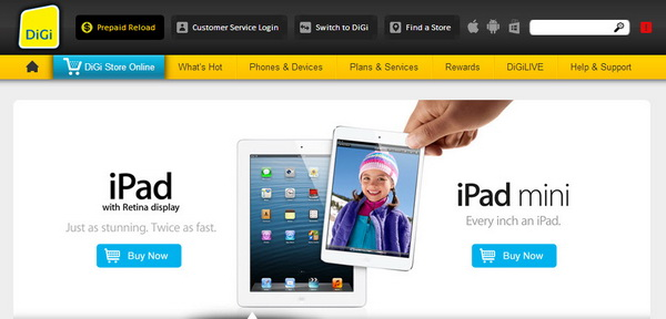 DiGi Malaysia Offers data plans for iPad Mini and iPad with Retina Display