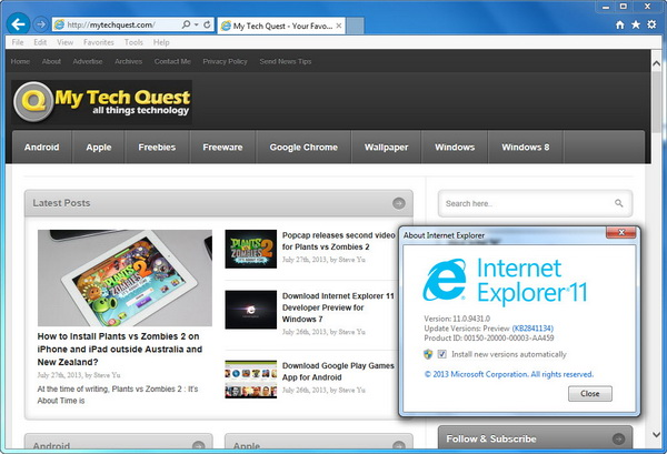 Internet Explorer 11 on Windows 7