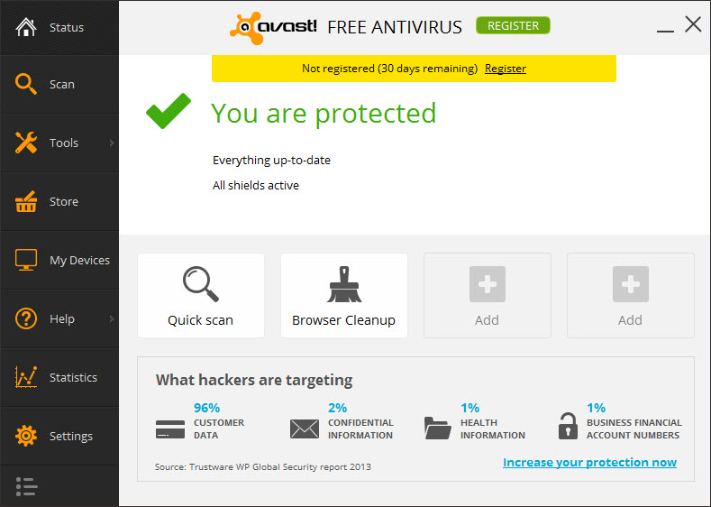 Avast 2014 Free Antivirus - Main Interface