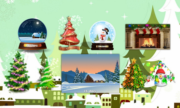 Animated Christmas Trees, Globes and more Decorations for desktop