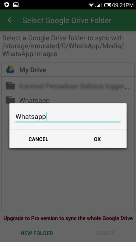 Back up Whatsapp Images to Google Drive