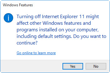 How to remove IE11 from Windows 10