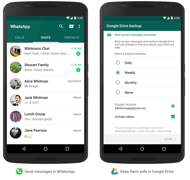 Whataspp for Android introduces Google Drive Backup feature