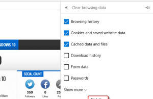 Clear Browsing data in Microsoft Edge