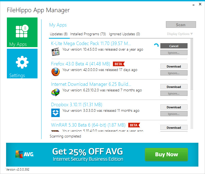 FileHippo App Manager - Keep Windows 10 Software Up-to-date