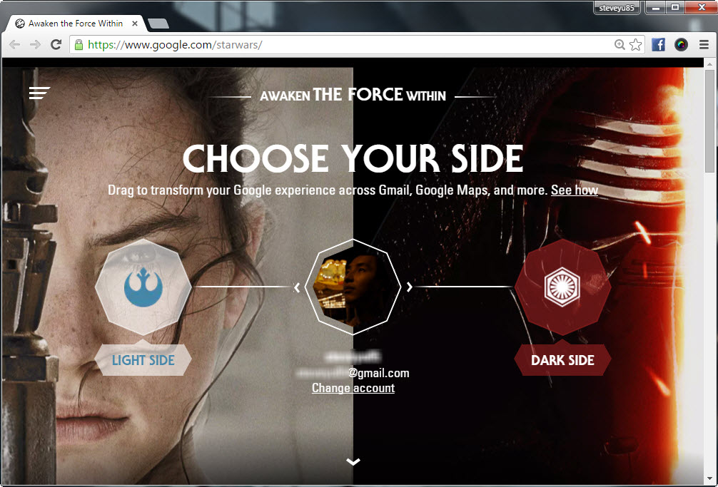 Star Wars Episode VII The Force Awakens experience on Google