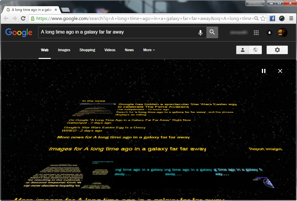 Star Wars Opening Crawl effect on Google