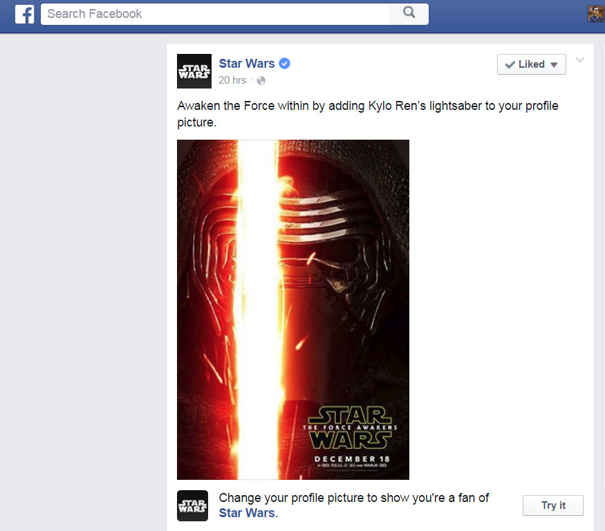 Add Star Wars Lightsaber to Facebook Profile Picture