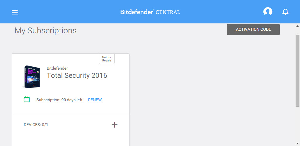 Bitdefender Total Security 2016 with 90 Days Free Trial - Bitdefender Central