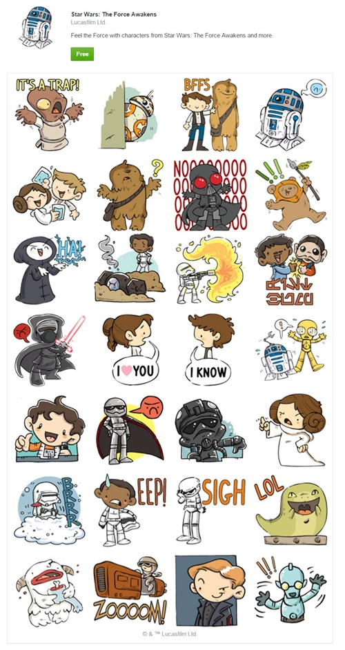 Star Wars The Force Awakens Facebook Sticker Pack