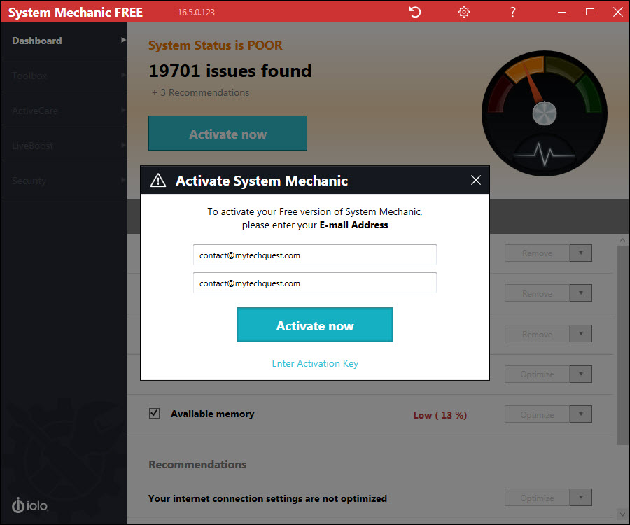 System Mechanic Free 16.5 - Activate Now