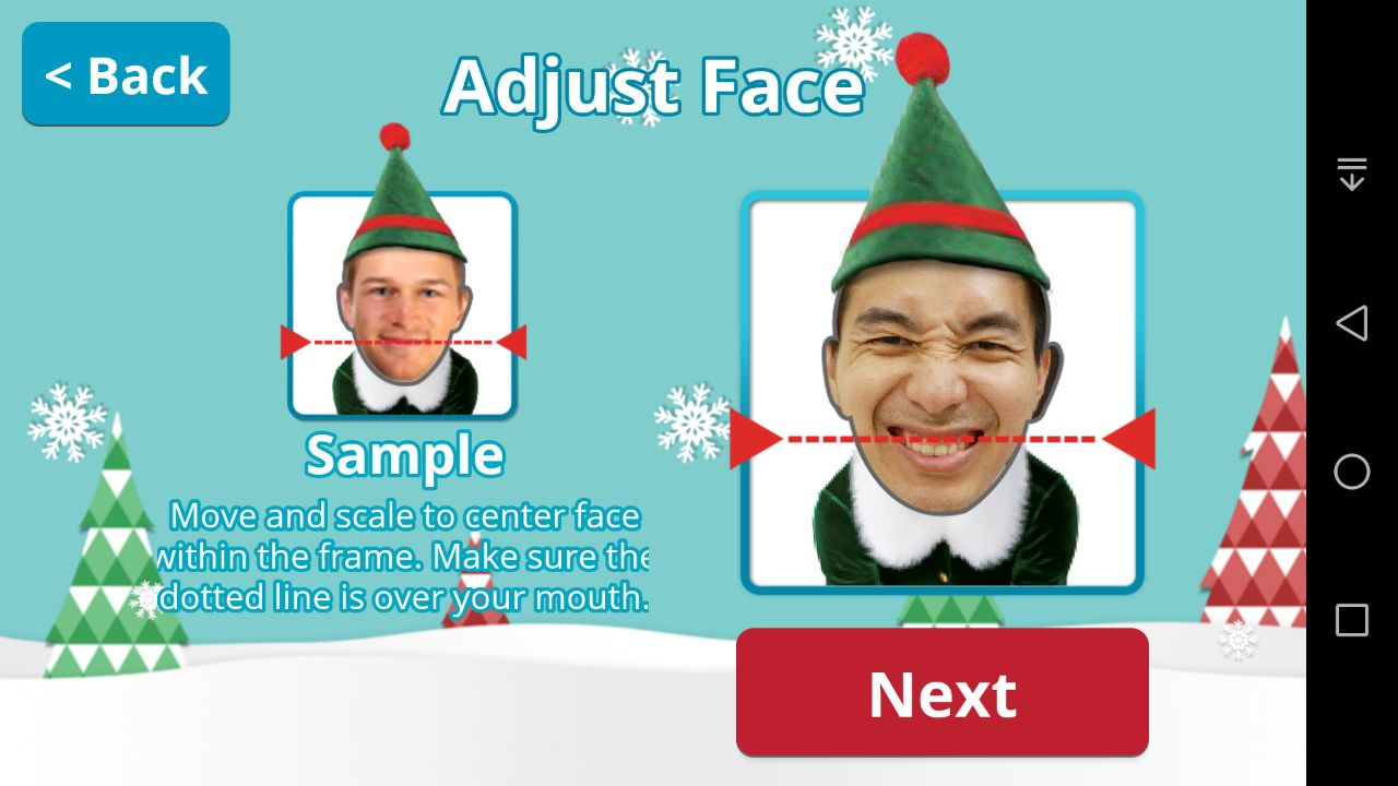 Elf Yourself Android App - Adjust Face
