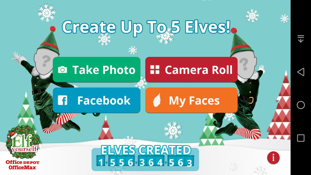 Elf Yourself Android App - Main Window